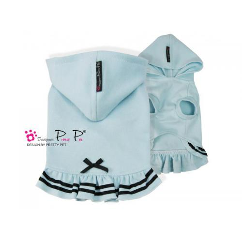 Hundekleidchen  Pretty Pet Black Silk Ribbon Hoddie Dress blau